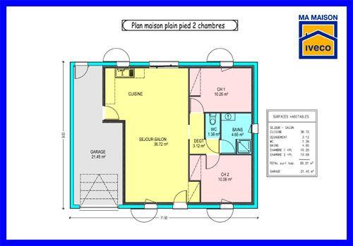 plan de maison 2 chambres salon