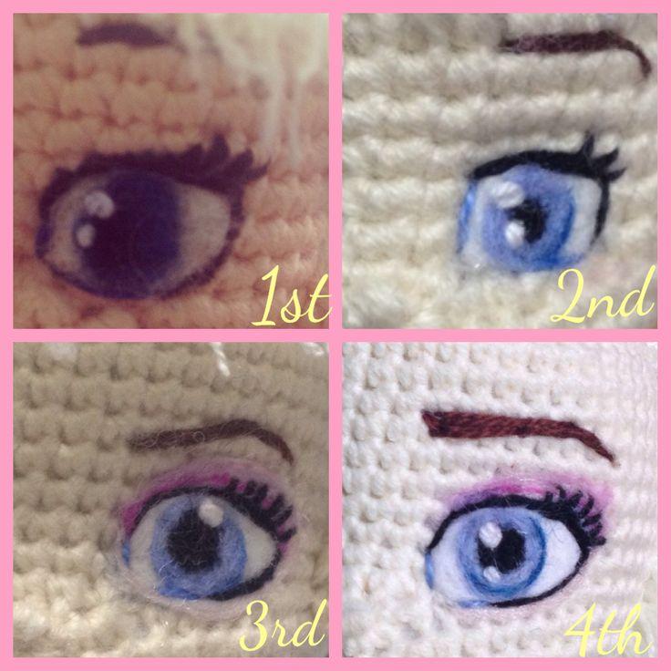 Have needle felted eyes for my Elsa s Frozen amigurumi crochet dolls