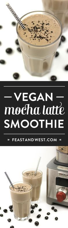 Vegan Mocha Latte Smoothies are a healthful way to begin the day. Packed with protein and nutrients from bananas, peanut butter, non-dairy yogurt, almond milk, chia seeds and tofu, this smoothie's got a bit of caffeine from real cocoa and coffee or espresso to boot. This is a blender breakfast that'll boost your morning right. // Feast and West
