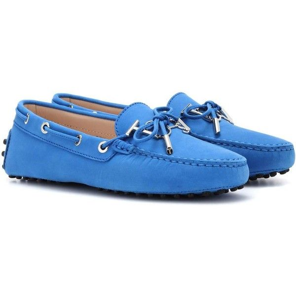 Tod's Gommino Suede Loafers ($600) ❤ liked on Polyvore featuring shoes, loafers, blue, loafer shoes, suede leather shoes, blue loafers, blue loafer shoes and loafers moccasins