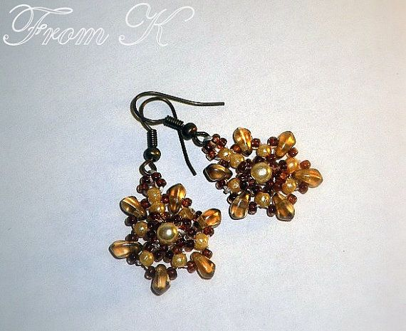 Sandy Brown StarLike Beaded Earrings.  Czech Crystal and by FromK, $5.99