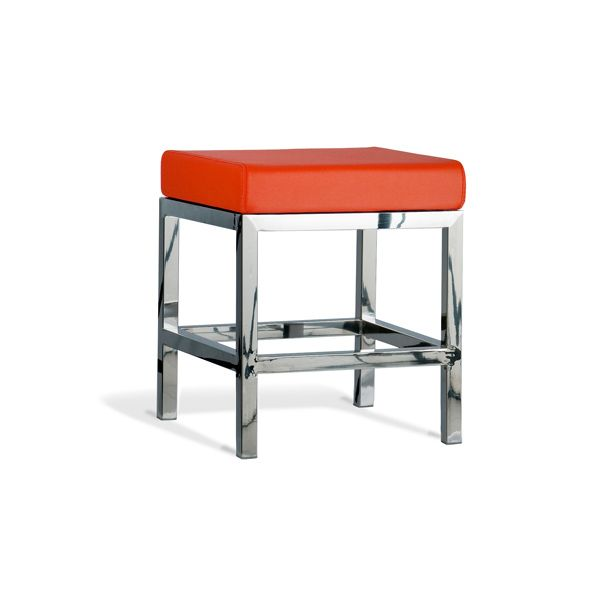 Quadro Stool Polish Frame 450mm with Orange Cushion