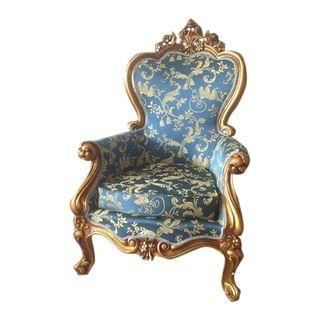 Best Louis Xvi Style Blue Floral Gold Accent Chair Gold 400 x 300