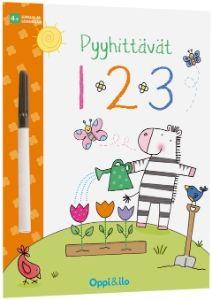 Pyyhittävät puuhakirjat saivat jatkoa kahdella uudella tuotteella, joista toinen on numeroiden maailmaan sijoittuva 123. Tehtävissä harjoitellaan numeroiden ja muotojen piirtämistä sekä lasketaan määriä.