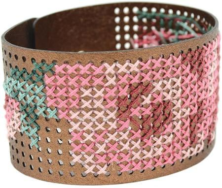 Cross Stitch Style Metallic Copper Faux Leather Bracelet - Cross Stitch Kit. Create your own designer bracelet! This package contains one 1 1/2 x 8 faux leather