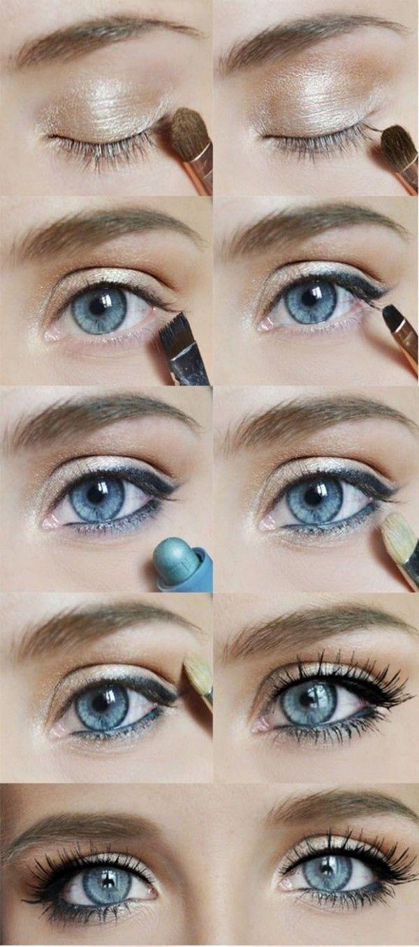 sombras de ojos doradas y kohl azul en la línea de flotación inferior