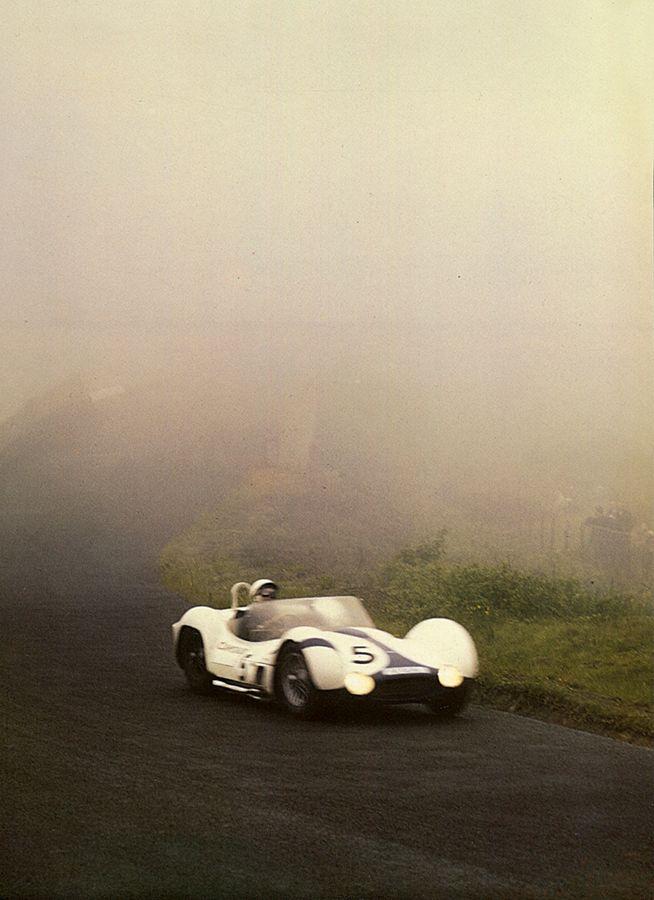 "jacqalan: "" Moss - Gurney (Maserati type 61 Birdcage) on the road to the victory ,through the Eiffel fog .(Nurburgring 1000Km 1960) """