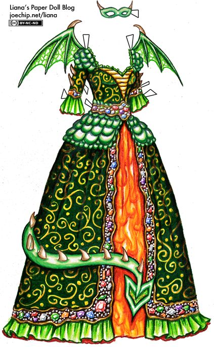 Halloween '10 Day 8: Dragon Masquerade Gown in Green and Gold   Liana's Paper Dolls