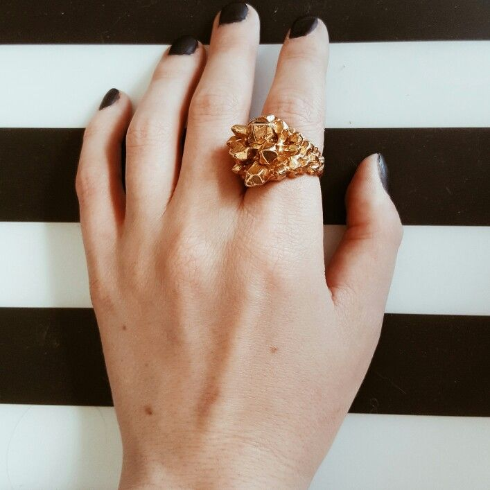 Statement rings in gold and rose gold. Made in USA. Sustainable Fashion. www.sustinalux.com