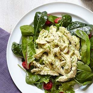 For a healthy variation on creamy chicken salad, we've replaced half the mayonnaise with basil pesto.