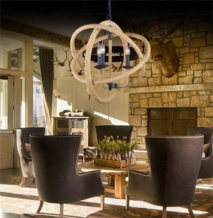 una luce Americani minimalista retrò luci appese, lampadari in ferro battuto stile industriale lampadario corda cafe bar ( dimensioni : L ): Amazon.it: Casa e cucina