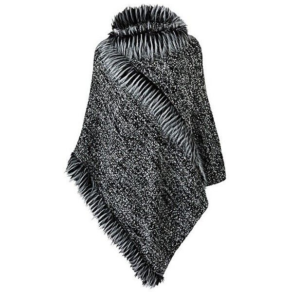 Joanna Hope Faux Fur Trim Poncho ($61) ❤ liked on Polyvore featuring outerwear, fur trimmed cape, cape poncho, cape coat, poncho cape coat and fur trimmed poncho