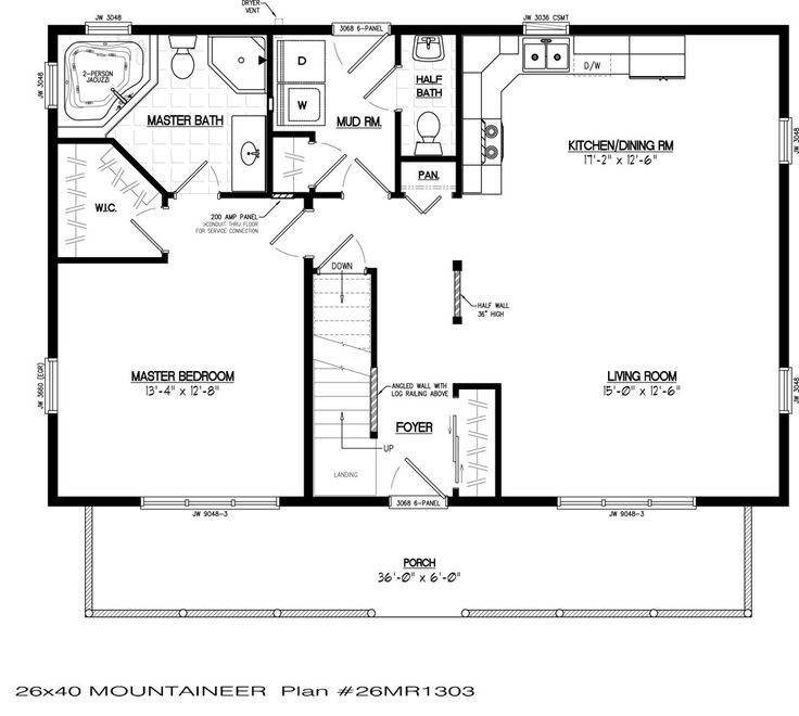 Mountaineer Cabin (With images) | Log cabin floor plans ...