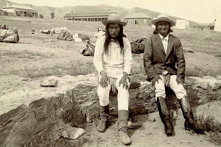 Naiche and Geronimo, prisoners of war, at Fort Bowie, September 7, 1886.