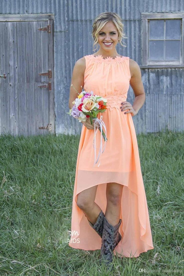 Cheap 2018 new cheap country bridesmaid dresses bateau for Country wedding dresses cheap