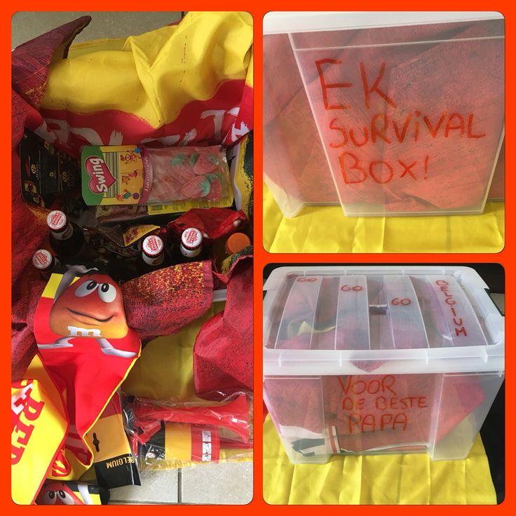 Cadeau voor vaderdag: EK survival box! Doos met vlagjes, toeter, kaarten, snoep, m&m, pintjes, sportdrank (voor de vermoeiende match), zakdoeken (voor als ze verliezen), vlag,...⚽️