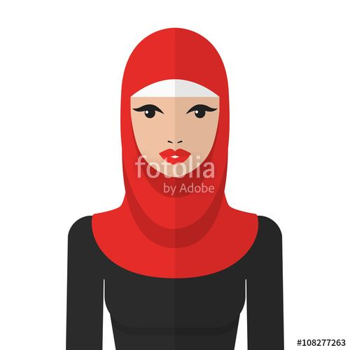 Beautiful muslim woman in hijab vector flat icon. Arab woman ...