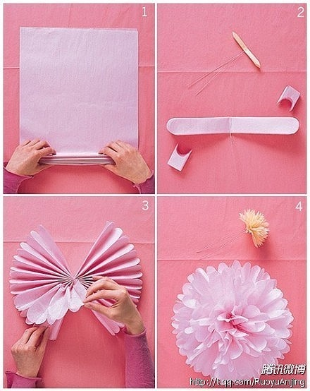 Ornamento de papel crepom - Ornament crepe paper