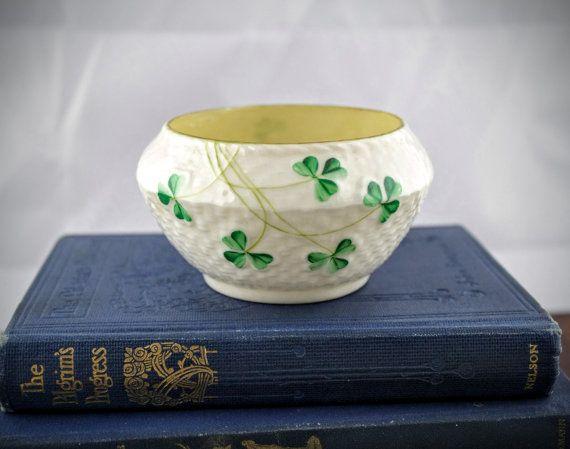 Vintage Belleek of Ireland Porcelain Sugar Bowl  by LoAndCoVintage