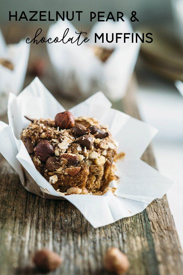 Hazelnut pear and chocolate muffins are sweetened with pears, lavished ...