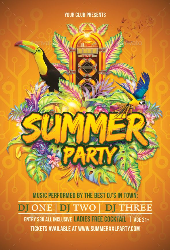 Best Summer Party Flyers Images On   Flyer Template