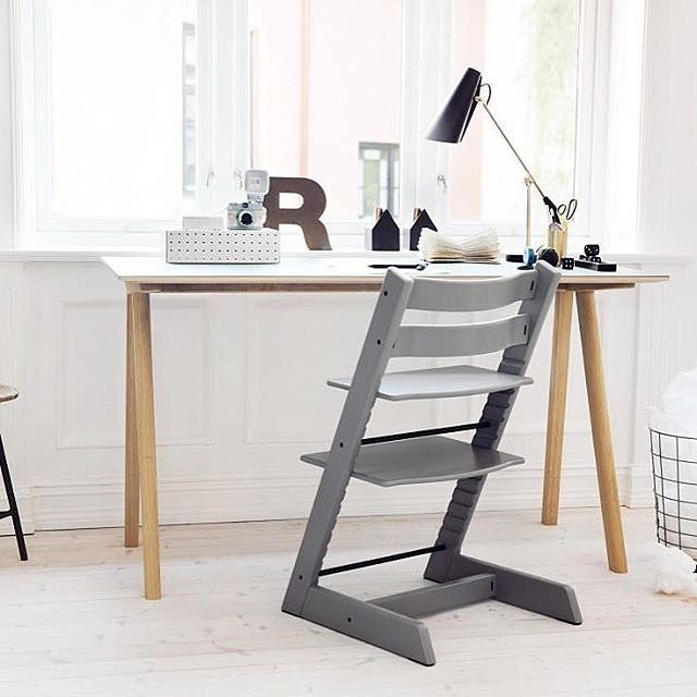 Beautiful Stokke Tripp Trapp chair in Storm Grey u The chair that goes from mashed carrots to college
