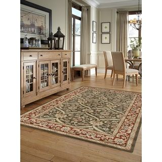 Julia Brown/Red Wool Hand-tufted Area Rug (5'6 x 8' 6)