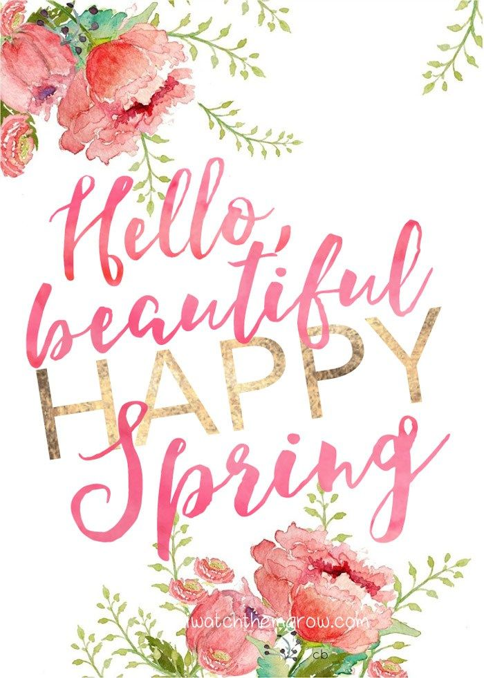 Free Hello, Beautiful Happy Spring printable by iwatchthemgrow.com