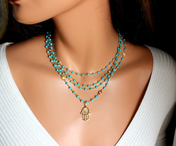 Hamsa Necklace Turquoise Gemstones Gold by divinitycollection