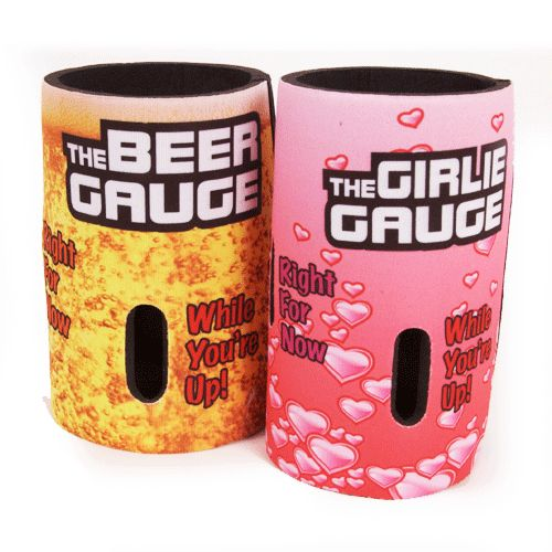 the stubby cooler that lets you know how much is left. 375ml and the girlie Gauge for the premium drinks