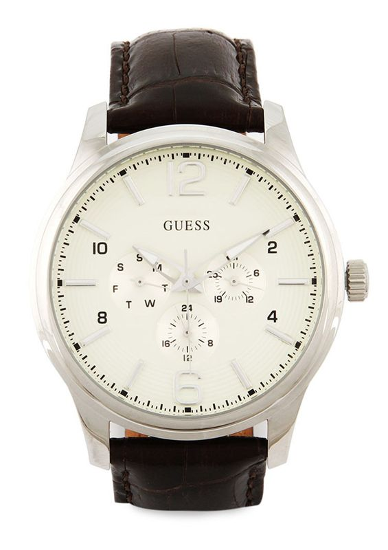 Brown 0294G1 Watches by Guess. Made from genuine leather, silver colro stainless steel body, brown color, with adjustable buckel fastening, waterproof. This analog watch is super tough and classic. http://zocko.it/LDN6x