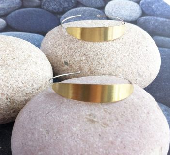 """Bamboo"" Collection Sterling silver and brass earrings. Minimalist jewelry. Hoop earrings."