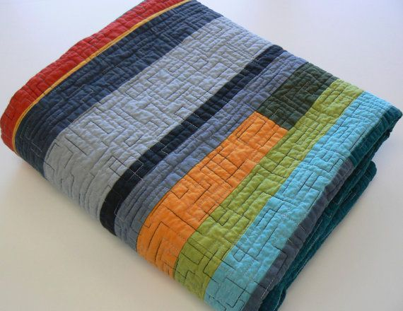 Modern quilt- I like the color combo and e quilting on it.