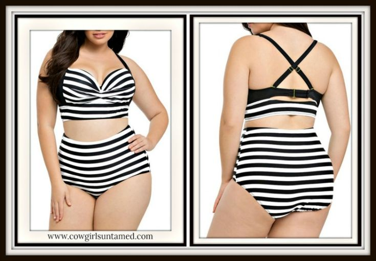PLUS SIZE COWGIRL GLAM BIKINI! Black and White Stripe Criss Cross Back PLUS Bikini  #stripe #bikini #swimsuit #beachwear #Swimwear #pinup #curves #summer #plussize #style #beach #strappy #fashion #boutique #cowgirl #biker #punk