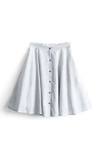 Daisy Striped Skirt by Meemoza. Circular and High Waisted Skirt with Pockets.Tailored in Canada. Organic Cotton. Sustainable and soft as silk.