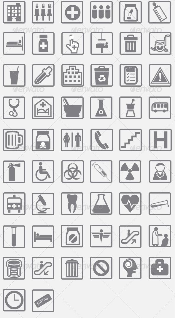 GraphicRiver 56 Hospital Pictograms Icons & Signs 5028243