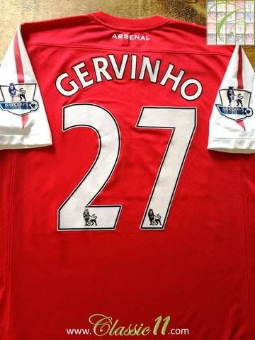 Official Nike Arsenal home football shirt from the 2011/12 season. Complete with Gervinho #27 on the back of the shirt in official Lextra Premier League lettering.