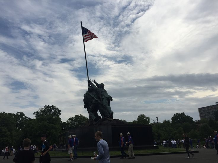 Statue of Iwo Jima US marine corps memorial at Arlington National Cemetery.
