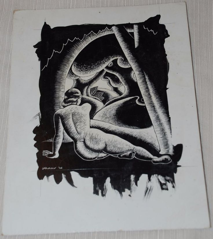 1942 G A Harris Scratch-Work of a Nude Woman in a Landscape #Expressionism