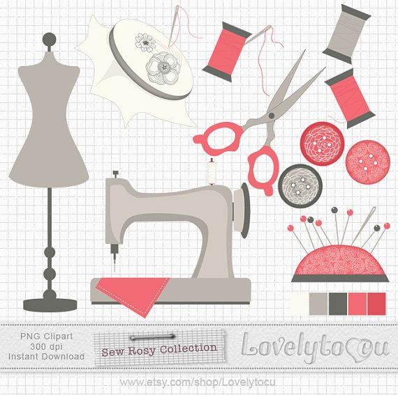 Sewing clip art set, mannequin, needle, thread, Sew Rosy digital PNG clip art set (SR01)\\יש מצב