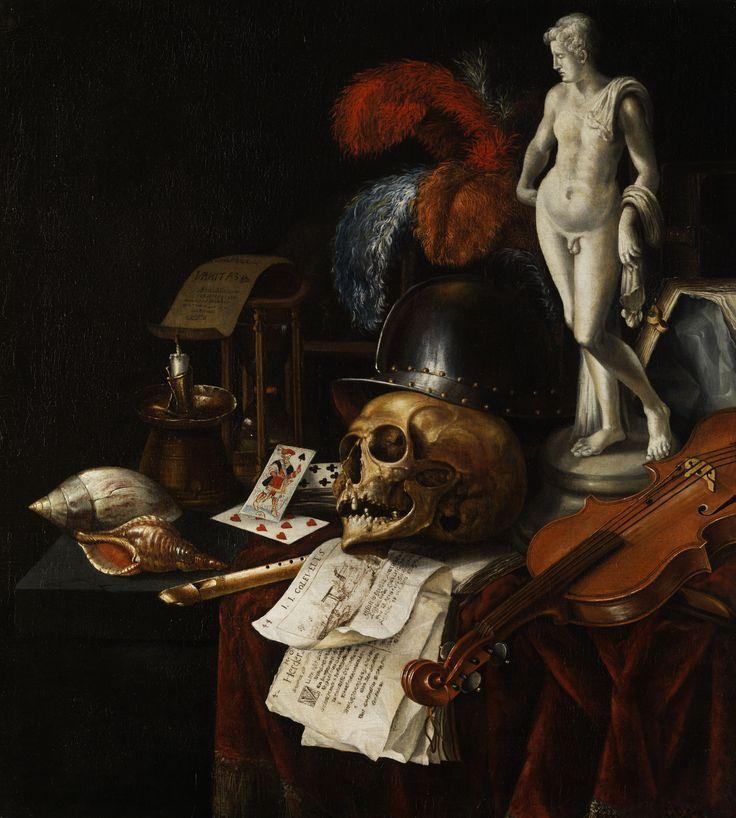 Vanitas-Stillleben mit Schädel und Spielkarten by Jan Fris (Vanitas Still-life with Skull and Playing Cards)