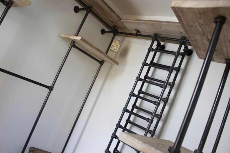 Sorrenti Reclaimed Scaffolding Board and Dark Steel Pipe 3 sided Industrial Open Wardrobe/Dressing Room Shelves, Drawers and Hanging Rails by UrbanGrainInteriors on Etsy https://www.etsy.com/listing/471931453/sorrenti-reclaimed-scaffolding-board-and