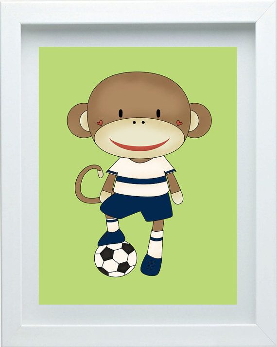 Soccer Monkey Nursery Decor, Safari Nursery Wall Art, Safari Nursery Theme, Monkey Print one 8X10 Cute Animal Art, Choose Your Color