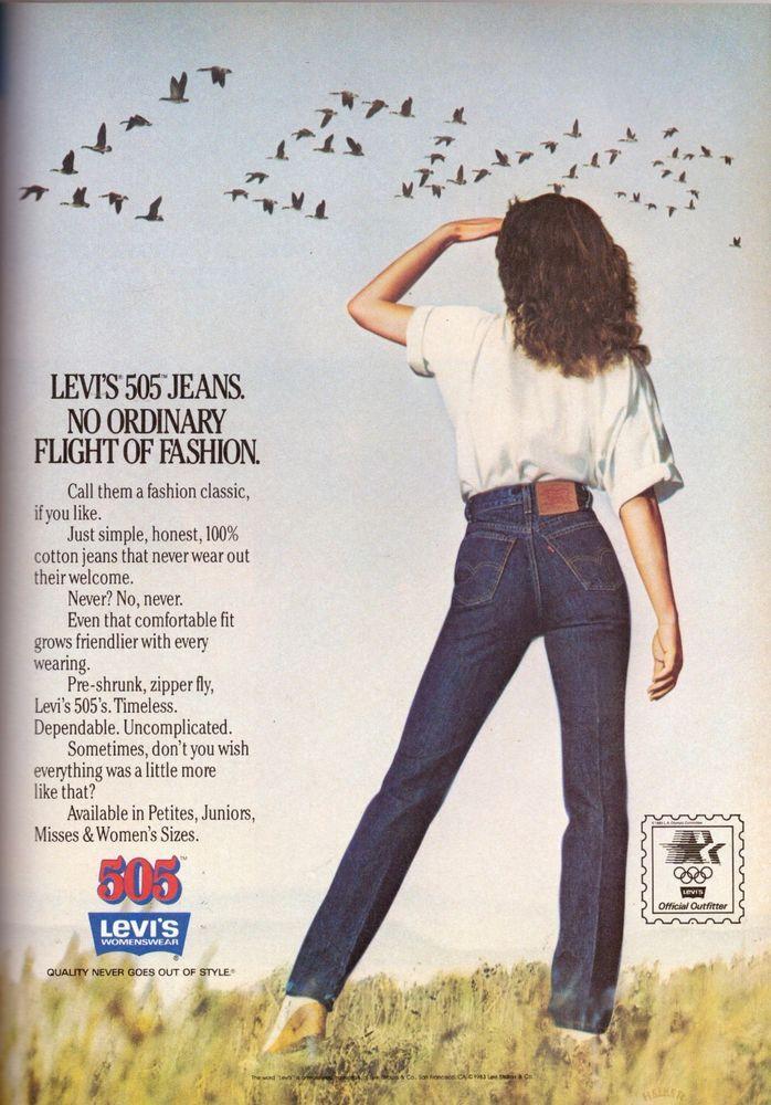 a74c716e299 1983 Levi's Levis 505 Jeans Gia Carangi Print Advertisement Ad Vintage VTG  80s #Levis