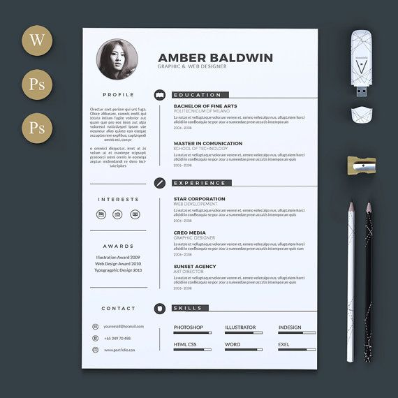 I N C L U D E S / /  - Resume template in .docx, Psd and Indd format (Word, Photoshop, Indesign) - Cover letter template in .docx and Indd format - Instructional guide/Pdf - Help file, within links to download font for free - Icon set - Size : A4 & Us Letter - Free fonts ( links in the help file)   R E Q U I R E M E N T S / /  - Microsoft Word (for Mac or Windows) * Dont have Word? Download a FREE trial here: https://products.office.com/en-us/t...