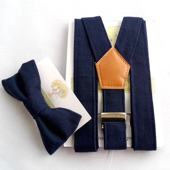 Navy Braces and Bow Tie Set Page Boy Accessories Navy