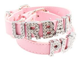 Pink Leather Personalised Dog Collar (Diamante Letters) | Dog Collar & Lead Sets at UrbanPup.com.au