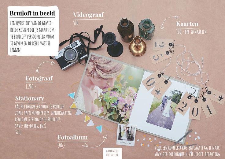 Een overzicht van de gemiddelde kosten die je maakt om je bruiloft persoonlijk vorm te geven en op beeld vast te leggen. Voor een compleet kostenplaatje van je bruiloft ga je naar http://www.girlsofhonour.nl/bruiloft-begroting