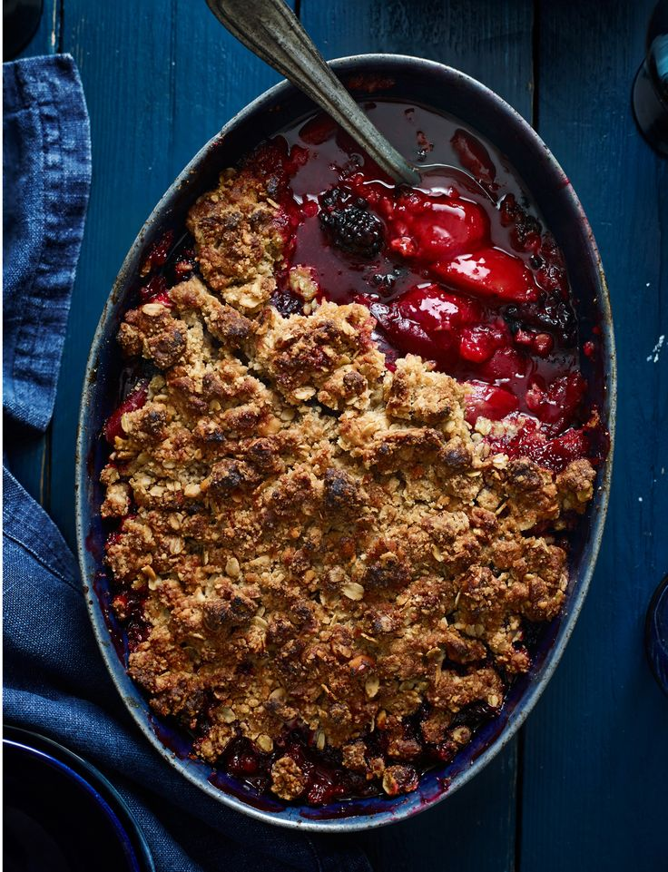 Our plum and blackberry crumble recipe is pretty special. We've added a touch of ginger and Chinese 5-spice to make a wonderfully warming crumble with nutty flapjack-inspired topping