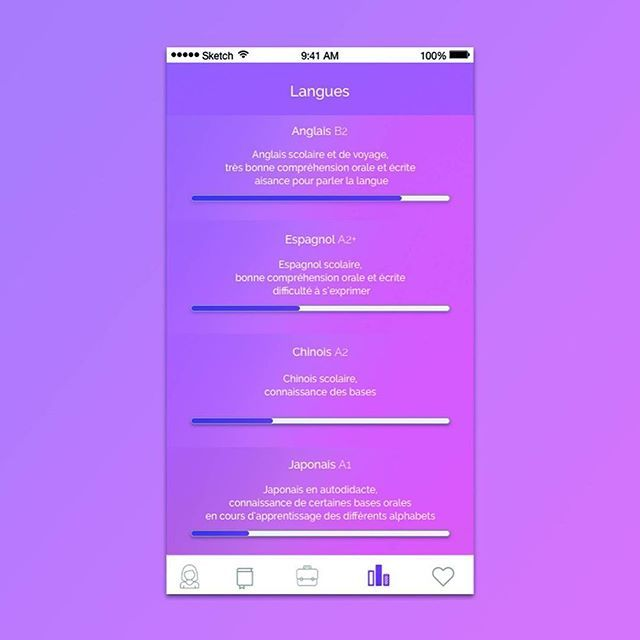 Daily, trailer for something bigger ! #dailyui #app #iOS #interface #sketch #illustrator #dailywork #ux #ui #userinterface #french #gradient #design #cv